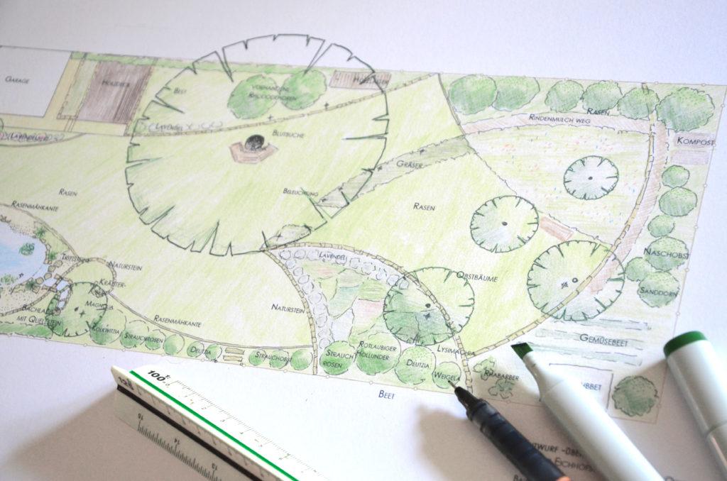 zeichnung entwurf naturgarten planung